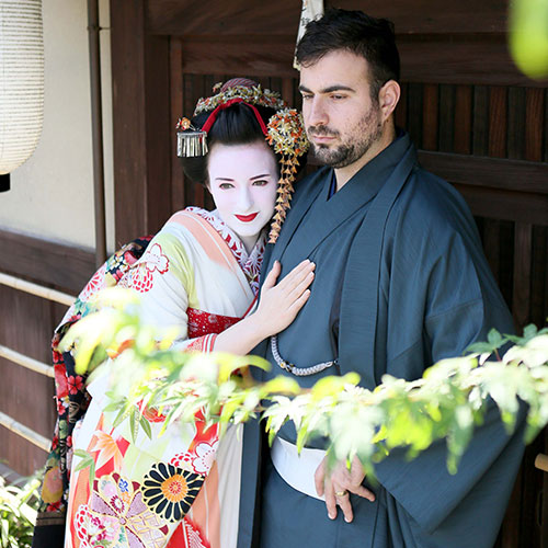 Maiko and Geisha makeover Couple Studio and Outdoor course