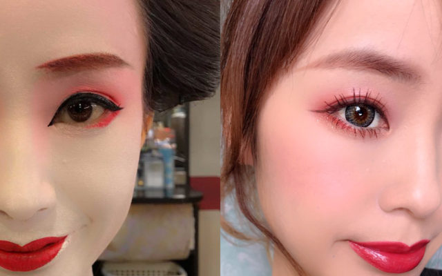 舞妓さんの赤いアイメイクを普段のメイクにも活用すると・・・あら!腫れぼったく見えるどころかデカ目効果も♪