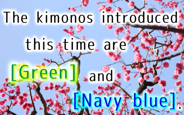 I will introduce two kimono. [[ Green ]] and [[ Navy blue ]]. Very popular in our shop!!