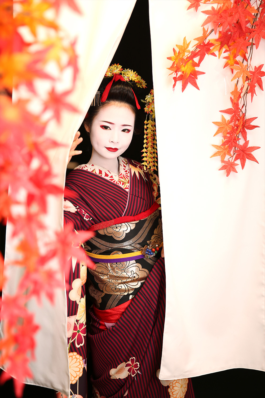 秋の舞妓体験・芸妓体験特別ポーズ