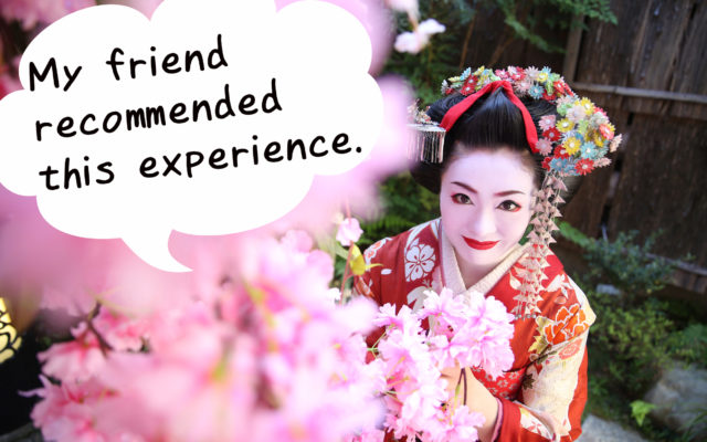 She came to our shop after being introduced by a friend. We are glad you recommended the Maiko experience.